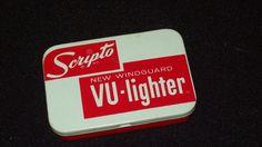 Vintage Scripto New Windguard VU-Lighter Tin Box - Box ONLY - no dents!