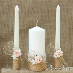 Wedding Unity Candle Set, Rustic Wedding Bridal Candle, Hessian and Lace Bride and Groom Unity Burlap Candles Wedding Together This Beautiful Bride Unity Candle Set is perfect for your rustic wedding, Wedding Unity Candles, Diy Candles, Burlap Candles, Cottage Wedding, Rustic Wedding, Wedding Country, Chic Wedding, Country Weddings, Rustic Groom