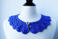Royal blue crochet collar peter pan collar by featherandstones