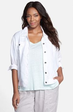 Eileen Fisher Classic Collar Crop Jacket (Plus Size) available at #Nordstrom