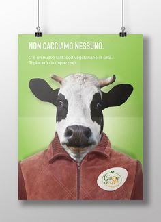 Campagna pubblicitaria Fast food Vegetariano.  #animals #campaign #food #illustrator #poster #cow