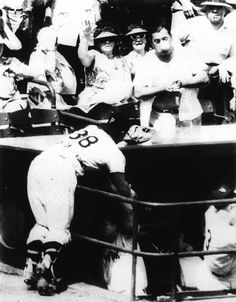 Photographer/Creator  Walter F. Stein  Collection  1956  Publisher  Associated Press  Caption/Description  A Pittsburgh pirate baseball fan is hit in the nose with a foul ball (he had hoped to catch) after it bounced off the dugout as Pirate catcher Hank Foils runs into dugout rail. New York players in the dugout duck for cover.
