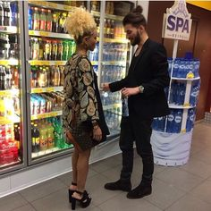 Beautiful interracial couple at a convenience store #love #wmbw #bwwm