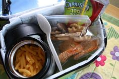 A few food ideas for a thermos lunch:  leftovers, soup, macaroni & cheese, spaghetti, casseroles  mini corn dogs, mini corn dog muffins, beanie weenie, noodles & veggies  add a cold hot dog to hot water in a thermos (store the ketchup, mustard & bun on the side to make their own hot dog for lunch).