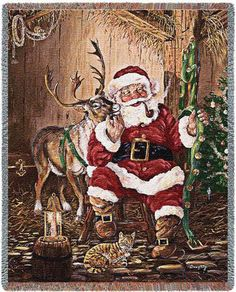 Jolly St Nick with his rosy cheeks is petting Rudolph. The bell harness means its time to get ready to deliver the presents. This is a great addition to any holiday decor.