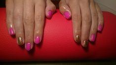 Matowa fuksja i złoto. Hybrydy. Matte pink hybrid nails