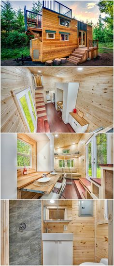 Basecamp + Green is a fascinating tiny house designed by Backcountry Tiny Homes.  The 24′ tiny house offers 204-square-feet on the main floor and a total of 383-square-feet including the roof deck and lofts.