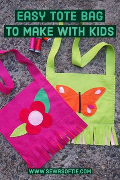 A simple hand sewn tote bag kids will love to sew. Crafts For Kids To Make, Sewing Projects For Beginners, Art Classroom Decor, Kids Bags, Free Sewing, Handmade Bags, Felt Crafts, Hand Sewn, Teaching Kids