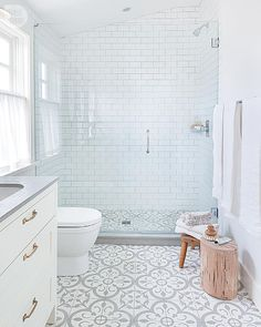 "A nice clean look - I like the flooring and shower tile combo. If we don't do the black framed door, this feels really peaceful.    I'm thinking we don't need a totally flat shower entry- as long as the door opening is wide, a low lip at the floor- say 2"" or so- would be fine"