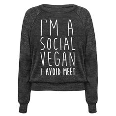 """Show the world your social diet has become more limited with this funny introvert design featuring the text """"I'm A Social Vegan, I Avoid Meet"""" for all the strangers and small talk you want to avoid! Perfect for an introvert, introvert pride, awkward people, introvert gifts, antisocial, social anxiety and avoiding people!"""