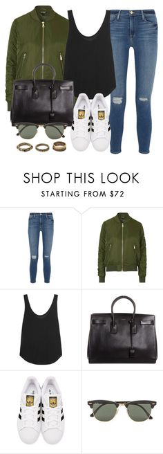 """""""Style #11036"""" by vany-alvarado ❤ liked on Polyvore featuring Frame Denim, Topshop, Yves Saint Laurent, adidas Originals, Ray-Ban and Forever 21"""
