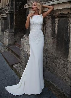 Attractive Acetate Satin Bateau Neckline Mermaid Wedding Dress With Beaded Lace Appliques