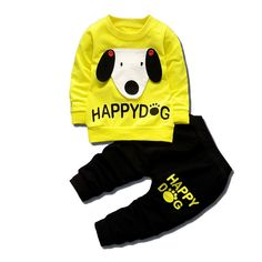2017 Spring And Autumn Latest Style Baby Boy Children's Clothing Cotton Dog Baby Long Sleeve T-shirt+Pants Hooded Clothes Toddler Boy Outfits, Toddler Boys, Kids Outfits, Baby Girl Shirts, Shirts For Girls, Baby Girls, Baby Boy Clothing Sets, Children Clothes, Tracksuit Set