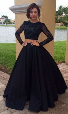 Beading Long Tulle Sleeves Satin Two Piece Prom Dresses #longpromdresses