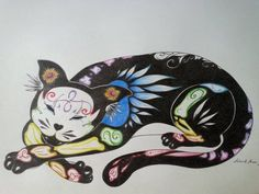 Sugar skull / Day of the Dead cat, tattoo idea. Original art work by Andreas Morzan