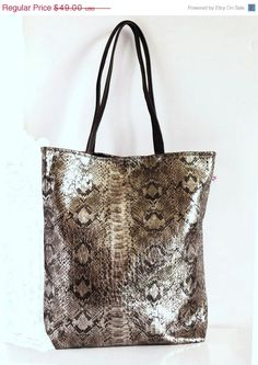 Silver tote bag leather handles  Silver by alfastudio