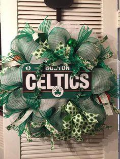 Boston Celtics Deco Mesh Wreath by Gypsy505Soul on Etsy