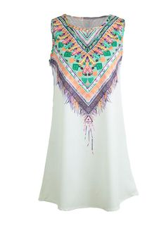 Cheap Bohemian Geometric Print Color Block Sleeveless Shift Mini Dress for Sale - Chicuu.com