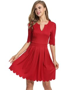 Meaneor Women Scallop Pleated Skater 3/4 Sleeve V Neck A-line Cocktail Dress *** Wow! I love this. Check it out now! : cocktail dresses