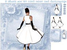 black and white lady mini kit by Cynthia Berridge black and white lady mini kit card insert plus decoupage
