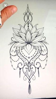 Mandala design tattoo - Would love this as a temp on my ster.- Mandala design tattoo – Would love this as a temp on my sternum Mandala design tattoo – Would love this as a temp on my sternum – Today Pin - Lotusblume Tattoo, Hand Tattoo, Body Art Tattoos, Tattoo Drawings, Girl Tattoos, Tattoo Thigh, Tatoos, Tattoo Neck, Sketch Tattoo