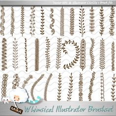 Mujka Whimsical Brush Library, very unique hand drawn vectorized floral brushes. (CS2/CS3/CS4)    Set: 34 floral brush and original EPS vector patterns.