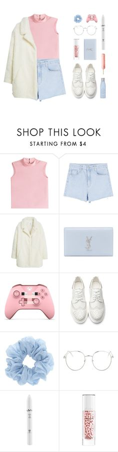 """""""❁ te entrego mi vida y mi amor hasta el fin"""" by chxrry-blossom ❤ liked on Polyvore featuring RED Valentino, MANGO, Yves Saint Laurent, Topshop, NYX, Guerlain, Drybar and springs6ksets"""