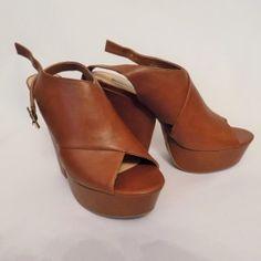 *NEW* Olsenboye Ogamble High Wedge Cognac Sandal 10M