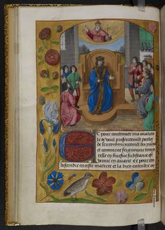 Description: Miniature of a prince enthroned, with supplicants surrounding him, and God the Father above, with a full trompe l'oeil border including flowers, Tudor roses, and a bird.  Origin: England, S. E. (Sheen) and Netherlands, S. (Bruges)  Attribution: Master of the Prayer Books of around 1500