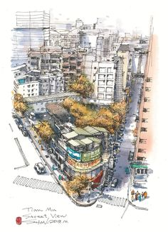 李善圖 Pen And Watercolor, Urban Sketchers, Marker Pen, Sketching, City Photo, Skyline, Drawing, Architecture, Illustration
