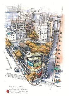 李善圖 Pen And Watercolor, Urban Sketchers, Marker Pen, Sketching, City Photo, Illustration Art, Skyline, Journal, Drawing