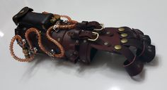 Steampunk - Steampunk Gauntlet (Right or Left) Red Leather Brass/Copper Hardware Orange Lighting Effects by ModForgeLLC