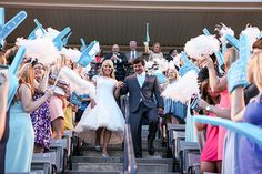 Football Stadium Wedding Exit: Leave your wedding as the MVPs you are! Armed with foam fingers and pom poms, your guests will love sending you off in game day style. Wedding Send Off, Wedding Exits, Wedding Themes, Wedding Blog, Our Wedding, Wedding Photos, Wedding Ideas, Wedding Unique, Football Wedding