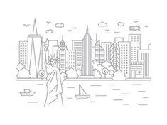 york drawing skyline simple drawings nyc open