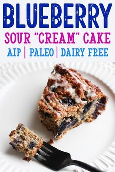 blueberry sour cream cake - AIP Paleo breakfast treat Gluten Free Dairy Free Egg Free Grain Free Nut Free Top 8 Free [low allergen and anti-inflammatory recipes from rally pure autoimmune protocol] Paleo Dessert, Paleo Sweets, Dessert Recipes, Paleo Food, Dinner Recipes, Healthy Desserts, Desayuno Paleo, Paleo Postre, Dairy Free Eggs