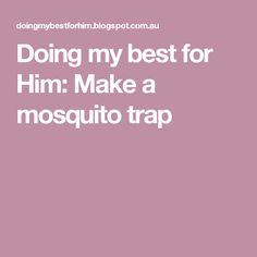 Doing my best for Him: Make a mosquito trap