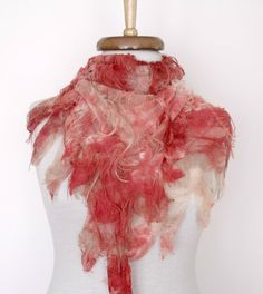 Butterfly Fringy Scarf witf flower brooch CoralReady for by Smryna, $17.50