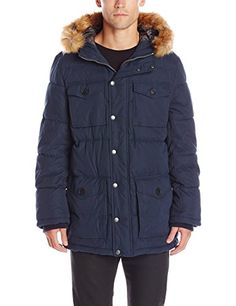 Tommy Hilfiger Men s Micro Twill Full-Length Hooded Parka Coat Vestes Parka,  Manteau Parka efe0a0573137