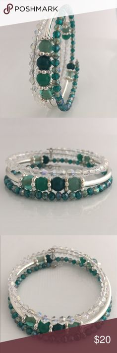 Teal Memory Wire Bracelet M A T E R I A L S:  • Memory wire, silver-plated tempered stainless steel, 7 inch bracelet, 0.65-0.75mm thick • Black and Silver Memory Wire Bracelet • 2mm Silver glass Rondelle Faceted Beads  • 4mm Grey faceted beads • 4mm round Black gemstone beads Jewelry Bracelets