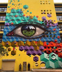 Street Art by MyDogSighs & in Shenzhen, China. 3d Street Art, 3d Street Painting, Amazing Street Art, Street Art Graffiti, Street Artists, Yarn Bombing, Art Mural, Wall Art, Murals