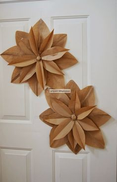 made these flower out of brown paper lunch bagsyou could also make it with colored paper if you like