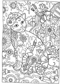 chat peinture, coloriage chat, chat artiste, Gatos para Colorir
