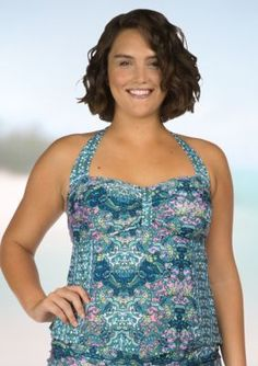 Kenneth Cole Reaction  Plus Size Scarves On Deck Tankini