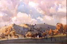 Clouds -Hills in Sunlight, Brungle-WC 36 x 56 cm April Ross Paterson Watercolor Artists, Watercolor Landscape, Landscape Art, Landscape Paintings, Watercolor Paintings, Landscapes, Watercolours, Clouds Hill, Australian Painting