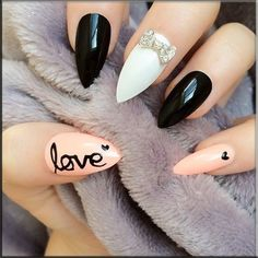 Nail Polish Art-white, black, pink #best Nail #ballupdate.net is best nail site