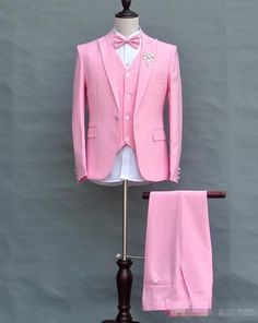 ==> [Free Shipping] Buy Best Custom Made Pink Groom Tuxedos 3 Piece Slim Fit Mens Wedding Prom Party Suits Homecoming Suit blazer masculino JacketPantsVest Online with LOWEST Price | 32729576772