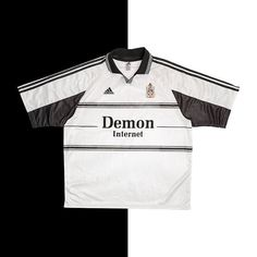 """5ca9900a5 Football Shirt Collective on Instagram  """"Fulham need to bring back the  1999-01 shirt with Demon Internet on the front ⚪ ⚫ Link in bio ☝ """""""
