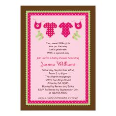 Baby shower invitation wording people found 16 images on pinterest twin girls baby shower invitation filmwisefo