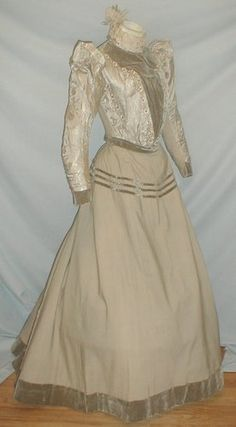 """""""A stunning Belle Epoch gray silk brocade and gray light weight cashmere wool dress. The bodice is made of both the gray silk and gray wool fabric. The silk fabric has a floral and vine pattern."""" All The Pretty Dresses: Promenade Dress 1890s Fashion, Victorian Fashion, Edwardian Style, Fashion Vintage, Beige Dresses, Cream Dresses, 19th Century Fashion, 18th Century, Historical Clothing"""