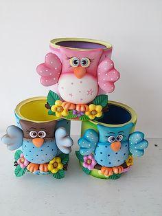 Tin Can Crafts, Foam Crafts, Diy Arts And Crafts, Crafts For Kids, Diy Crafts, Clay Jar, Pot A Crayon, Polymer Clay Animals, Polymer Clay Miniatures